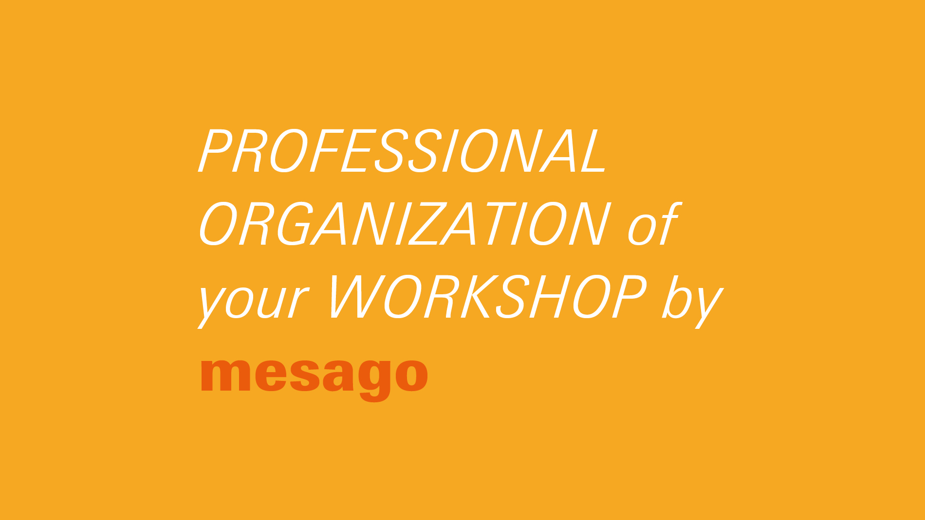 Professional organization of your workshop by Mesago